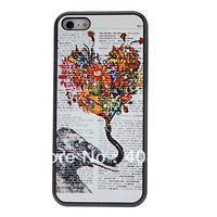 Free Shipping Special Designed Elephant and Colorful Heart Pattern Hard Case with Matte Back Cover for iPhone 5C