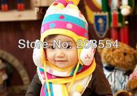 4pcs/lot  New Baby Autumn & Winter Hat Kids Warm Ear Muff Cap Baby Crochet Ear Hat Scarf Cute RabbitFree Shipping d17