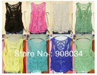 [S901] Hot Lace Floral Sleeveless Crochet Blouse Knit Vintage Women New cape hollow out Vest Tank Top Shirt