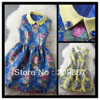 2014 spring summer women's elegant vintage blue yellow flower print dresses turn-down collar ladies' one-piece dress
