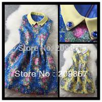 2014 spring summer women's elegant vintage blue yellow flower print dresses turn-down collar ladies' one-piece dress1041