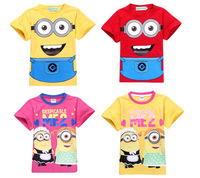 1pcs 2014 New  Baby Boys T-shirts Summer Cartoon Shorts Tops For 2-7Yrs Children's George Dinosaurs Navy Blue Clothing