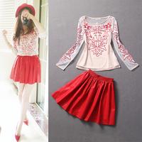 Free shipping! European Fashion women's 2013 applique embroidered top PU half-skirt set
