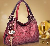 2015 Casual  NEW High Leather handbag bag fashion leisure hollow out  woman Designer Shoulder Bag