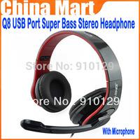 High Quality  USB Port Super Bass Stereo Headband Headphone Headset With Microphone