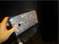 Luxury cowhide diamond rhinestone crystal women's handbag day clutch full rhinestone long design wallet bag genuine leather