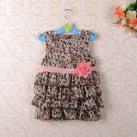 Retail Fashion summer baby girl's leopard print short-sleeve dress cute Children's dresses frees hipping Children's clothing