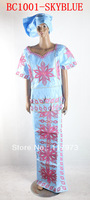 free shipping african bazin already made lady clothes of BC1001-skyblue