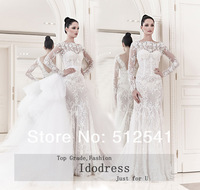 Newest Wedding Dresses 2014 Sheath Sweetheart Detachable Sweep Train Applique Organza Bridal Gowns yk8R303