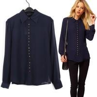 Hot sale Fashion 2013 women  blouse Europe spike punk  lady vintage design long sleeve slim women shirt top quality