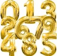 34''/86cm Gold Large Digital  Ballon Aluminum Foil balloon baby child birthday wedding party decoration number balloon