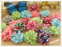 18pcs Baby Shabby Candy Stripe chiffon flowers with diamond Hair Flower baby childrend's Hair Accessories