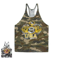 E0481 Men's Muscle Tank Tops for Fitness & Bodybuilding 100% Cotton Camouflage Vest Men Sports Wear Racer Back Wholesale