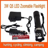 5pcs 3W LED flash light Adjustable Beam Zoomable Flashlight Torch Light Free Shipping 82804