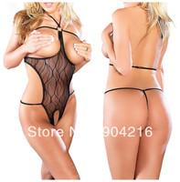 Fashion Sexy Lingerie Womens Exotic Clothing Underwear Costume Outfit  Open Bra Crotchless Halter Sleepwear Teddy Nightwear#5573