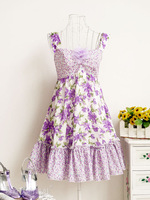 New Summer Girls' Spaghetti Strap Lace Print Mini Dress for party Strapless Slim fashion Sleeveless Cute Lavender S M L