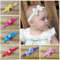 Free shipping 30pcs/lot Baby Headbands with Chiffon Rose Bows Baby Bow Flowers Headband/baby girl toddler Headbands