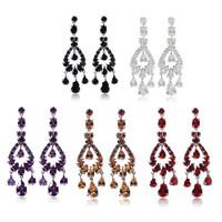lady  luxury wedding gift of birthday earrings, plating 18 kt zircon earrings red/purple/black/White/champagne earrings A88556