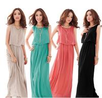Exclusive! S -XXXL! 4 Colors 2014 New Women High Quality Pleated Wave Lace Strap Princess Bohemia Maxi Long Chiffon Dress
