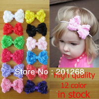 Free shipping 40pcs/lot Childrens Chiffon Rose Flower Bows/Baby toddler girls  Hair Accessories Hair Bows DIY Hair accessories