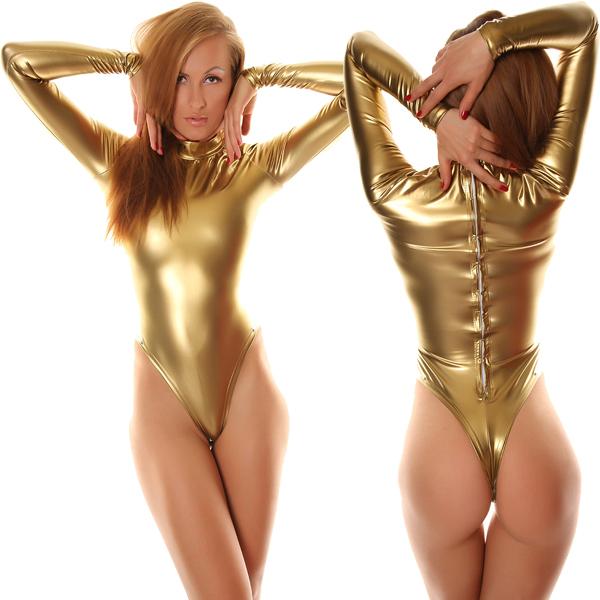 store product free shipping sexy fancy dress adult gold long sleeve shiny metallic unitard zentai su