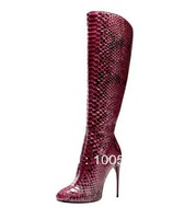 ladies fashion boots Tall-Shaft Stiletto Boot Wine Python Minimal stitching due to an intricate three-step shaping technique