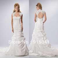 Hot Selling Sheath Strapless Pleated Bodice White Taffeta Cap Sleeves Bridal Wedding Dresses Open Back Designer