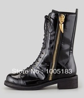 ladies fashion boots Side-Zip Combat Boot Black Glossy leather golden hardware Round toe Side-zip with shark tooth pull-tab
