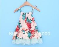2014 new arrivals summer girls flower prints sleeve less cotton dress kids breach  tulle dress