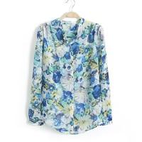 2014 spring and summer fashion women's shirt long-sleeve stand collar irregular print chiffon shirt lady blouse free shipping