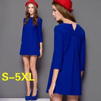 Fashion luxury autumn and spring  plus size dress long sleeve women's high quality  bow dress XXXL blue/black knee-length