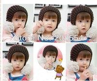 1pcs/lot  Double ball boy girl lovely Baby knitting hat winter hat/ infant children' warm knitted beanie hat d23