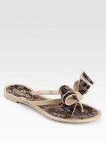 Kaki beautiful ! lace bow jelly shoes flip flops
