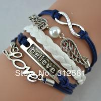Promotion 2014 Infinity Bracelet with Silver Wings bracelet Leather Braid Bracelet Wholesale Bangle