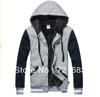 2013 plus thick velvet fleece men's sweater Big Size hooded sweater warm jacket Korean fashion Free shipping