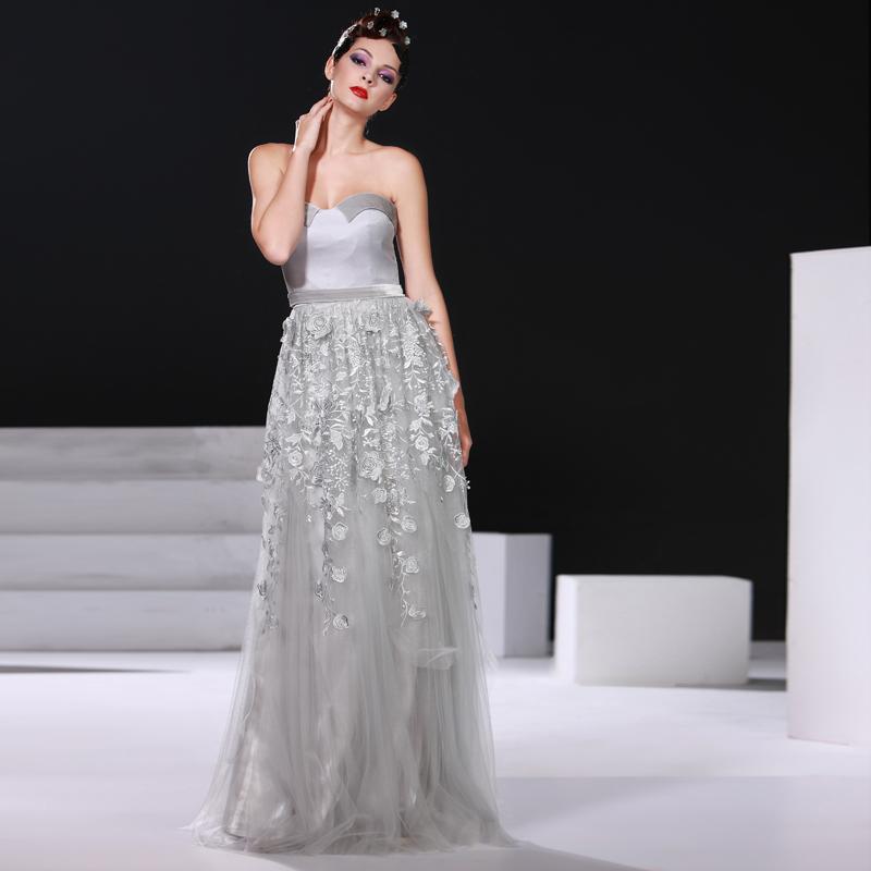 2015 Free Shipping - Beautiful Grey Floor Length Strapless Bateau Neckline Applique Flower Empire Maternity Evening Dresses(China (Mainland))