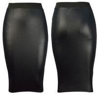 2014 New Fashion Autumn Winter  Women Plus Big Size Denim  Black High Waist  Bodycon PU Faux Leather Wet Look Midi Pencil Skirt
