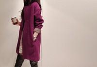 Free shipping 2014 spring autumn women's loose big yards long section woolen coat wool coat  LP35
