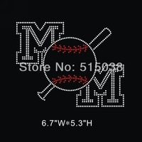 DHL Free Shipping 35pcs\Lot Custom Baseball mom hotfix rhinestone heat transfers design