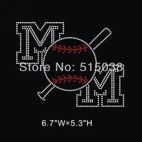 DHL Free Shipping 35pcs\Lot Custom Baseball mom hotfix rhinestone heat transfers design