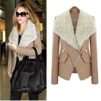 2014 Free Shipping Elegant Newest Fashion EU Style Winter Woolen Ladies Overcoat Fur Collar Slim Female Outerwear LBR9825