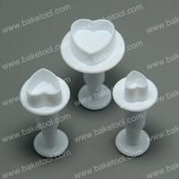 Free shipping,3pcs Plastic Heart shape cake fondant mold
