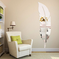 Home Decoration Mirror Wall Stickers three-dimensional Bedroom Wall Feather High Quality 100% Acrylic DIY Wall Sticker