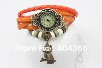 2014 New HOT lady Genuine Leather Vintage Watch women bracelet Wristwatches High Quality Owl pendent bracelet 100pcs/lot