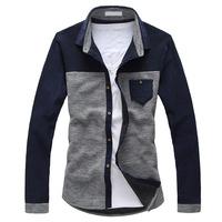 2013 autumn long-sleeve shirt british style men's slim color block shirt decoration