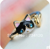 G079 free shipping Jewelry accessories mix wholesale Vintage fashion Factory Style Super Cute Cat and Fish Ring for women men