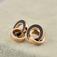 SYE011 Wholesale innovative items 2014 new Double Loops 14k Rose gold 316L Titanium steel Earrings women brincos bijoux
