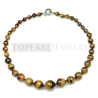 Free shipping! Faceted Tiger Eye Beaded Graduated 8-18mm Necklace 18.5inch GN251