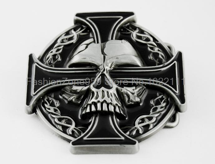 New Design Iron Celtic Cross Demon Devil Skull Tattoo Biker Mens Boy Belt Buckle(China (Mainland))