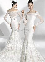 Free shipping LC0002 A-Line lace wedding dress OEM